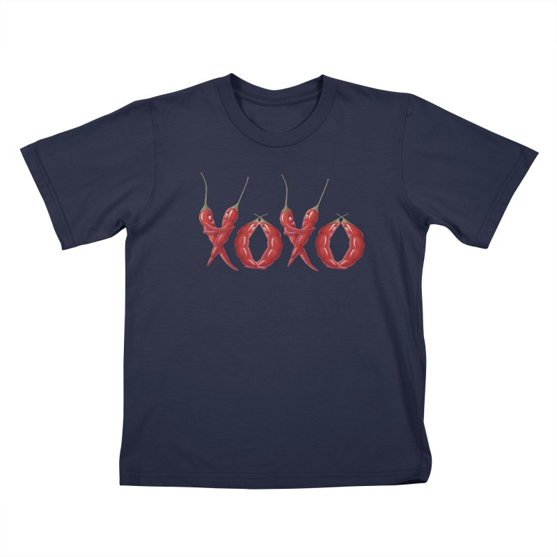 XOXO Chilies Kids T-Shirt by All Fashioned by Nature Artist Shop