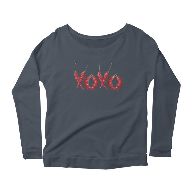 XOXO Chilies Women's Scoop Neck Longsleeve T-Shirt by FashionedbyNature's Artist Shop