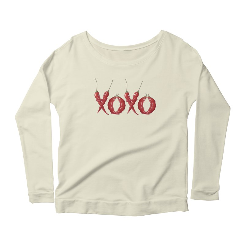 XOXO Chilies Women's Scoop Neck Longsleeve T-Shirt by FashionedbyNature's Artist Shop