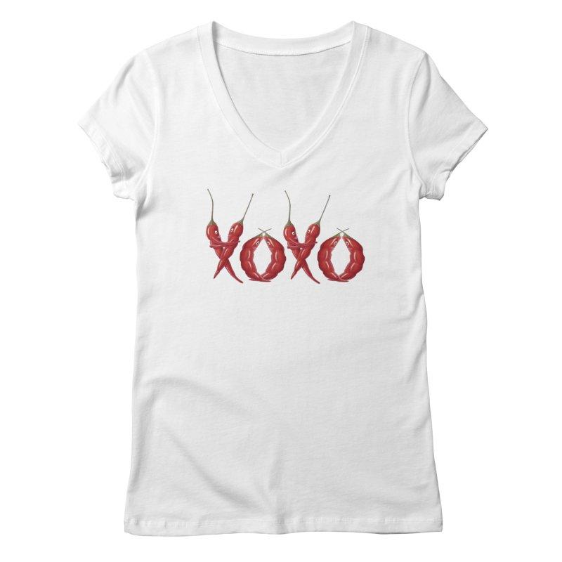 XOXO Chilies Women's Regular V-Neck by FashionedbyNature's Artist Shop