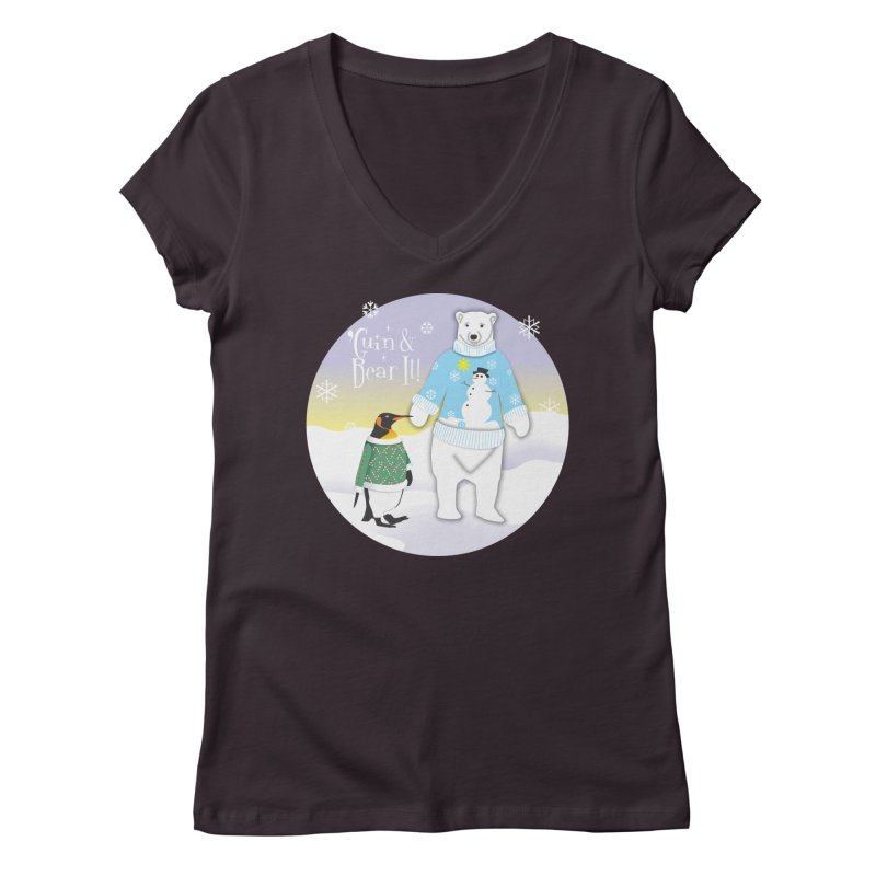 'Guin & Bear It! Women's Regular V-Neck by FayeKleinDesign's Artist Shop