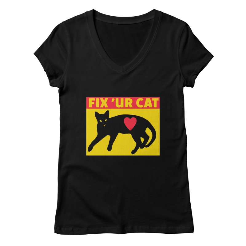 Fix 'Ur Cat Women's Regular V-Neck by FayeKleinDesign's Artist Shop