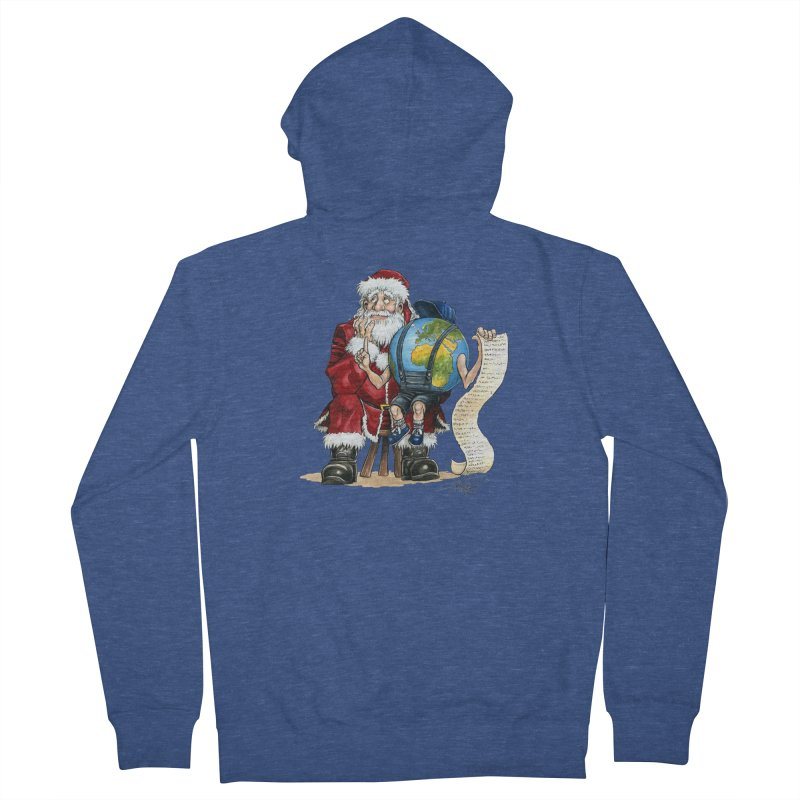 Poor Santa! What a headache! Men's Zip-Up Hoody by Ferran Xalabarder's Artist Shop