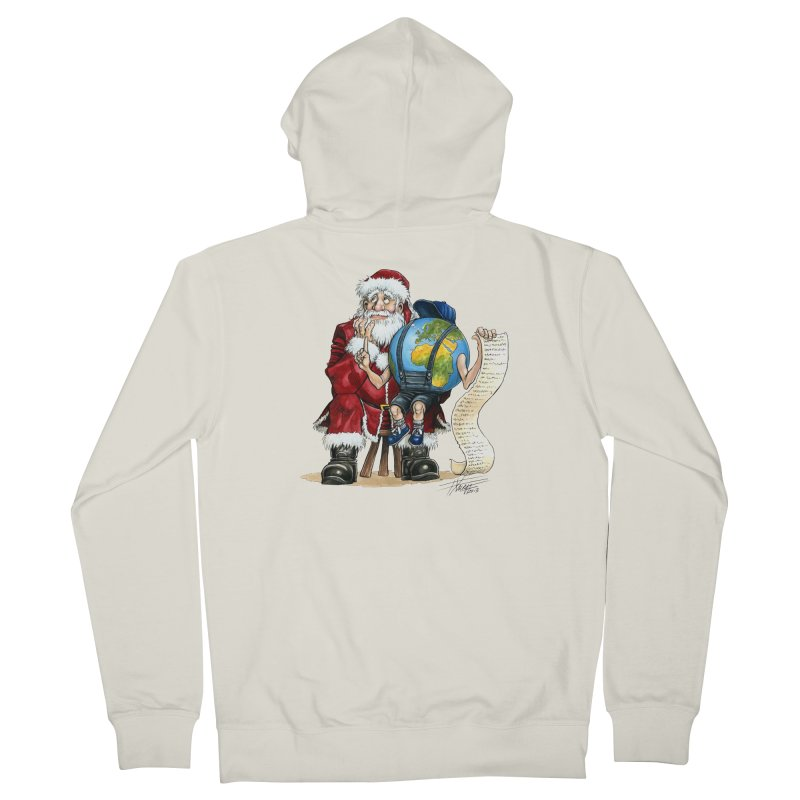 Poor Santa! What a headache! Men's Zip-Up Hoody by Ferran Xalabarder's Artist Shop