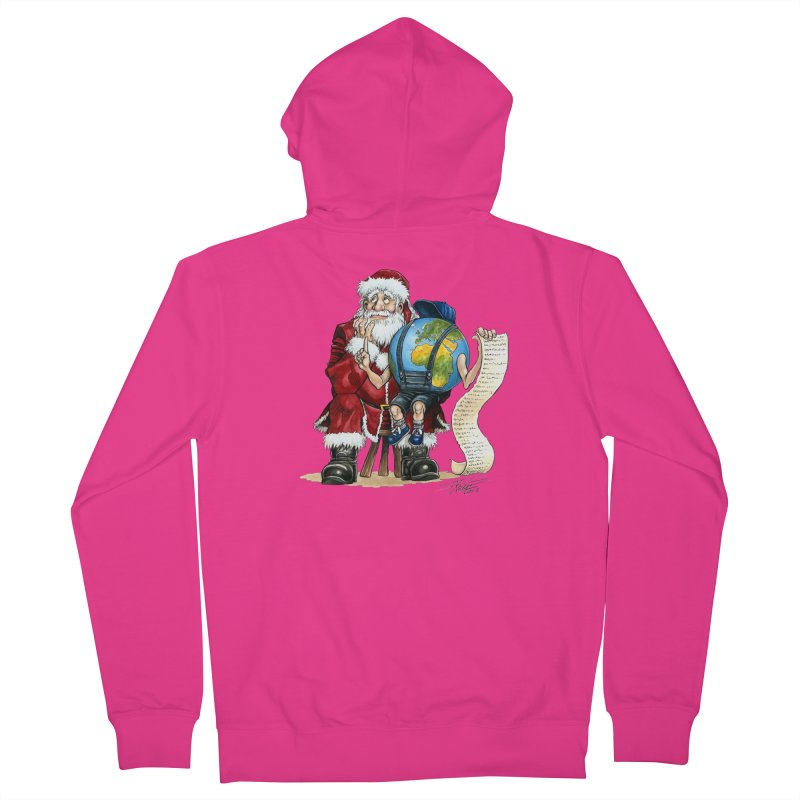 Poor Santa! What a headache! Men's French Terry Zip-Up Hoody by Ferran Xalabarder's Artist Shop