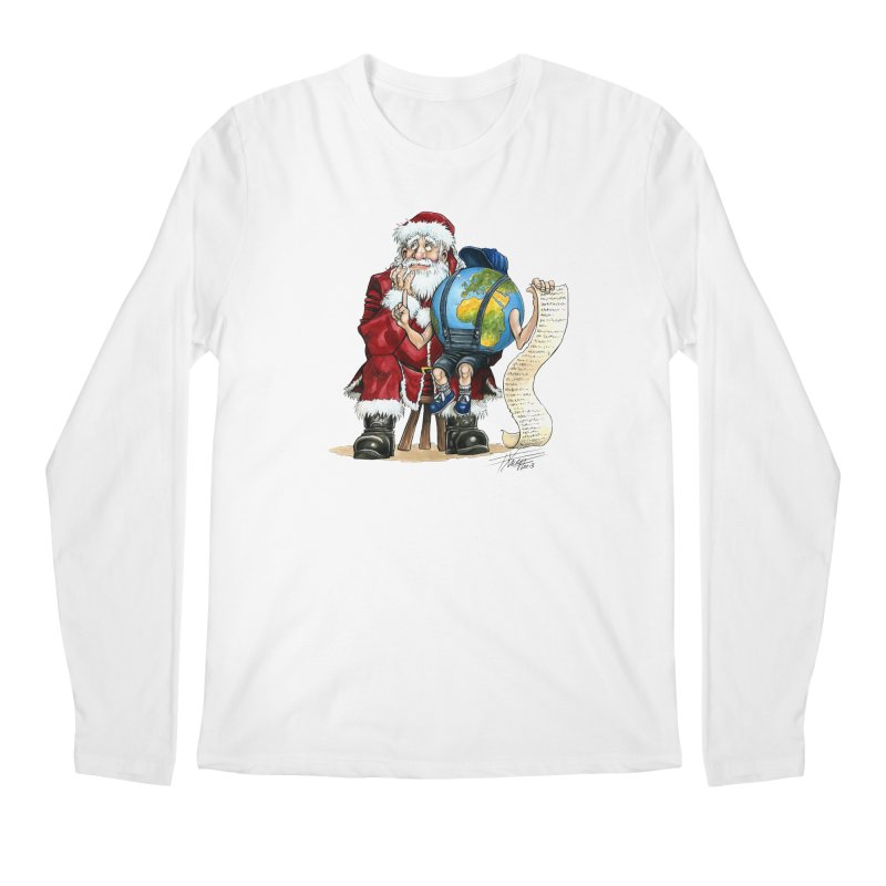 Poor Santa! What a headache! Men's Regular Longsleeve T-Shirt by Ferran Xalabarder's Artist Shop