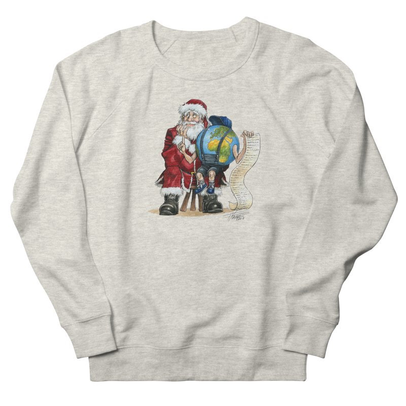 Poor Santa! What a headache! Women's French Terry Sweatshirt by Ferran Xalabarder's Artist Shop