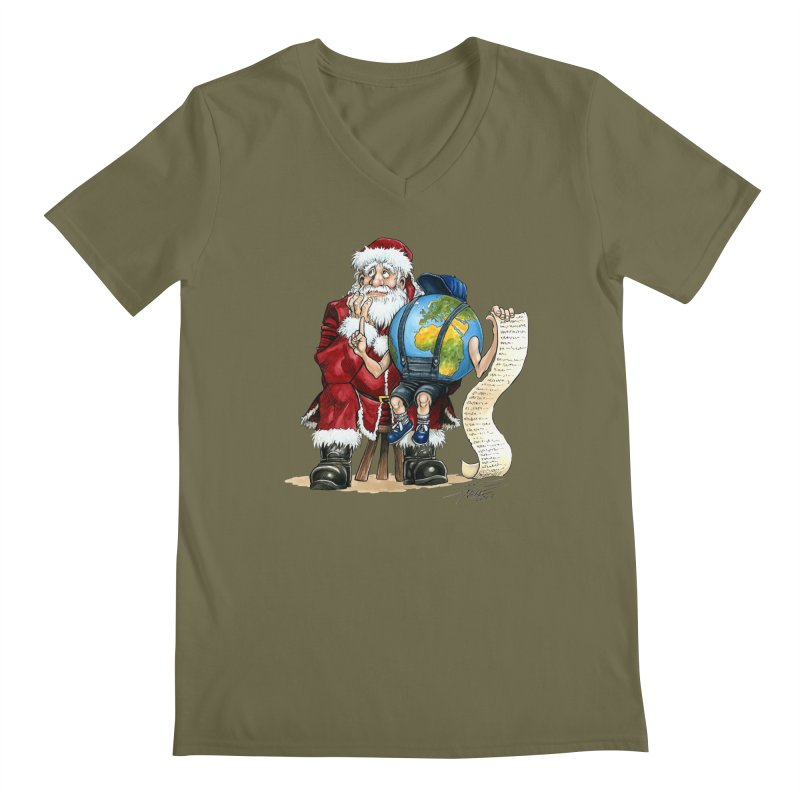 Poor Santa! What a headache! Men's V-Neck by Ferran Xalabarder's Artist Shop