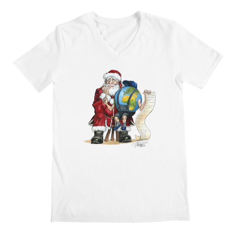 Poor Santa! What a headache! Men's Regular V-Neck by Ferran Xalabarder's Artist Shop