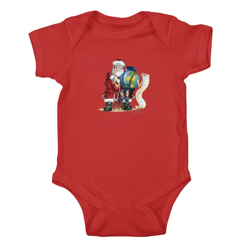 Poor Santa! What a headache! Kids Baby Bodysuit by Ferran Xalabarder's Artist Shop