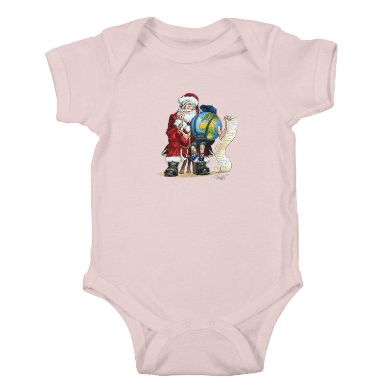 Poor Santa! What a headache! Kids Baby Bodysuit by Ferran Xalabarder's Artist Shop