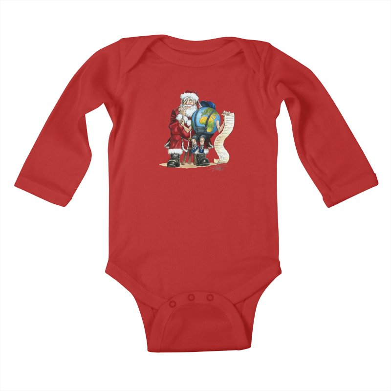 Poor Santa! What a headache! Kids Baby Longsleeve Bodysuit by Ferran Xalabarder's Artist Shop