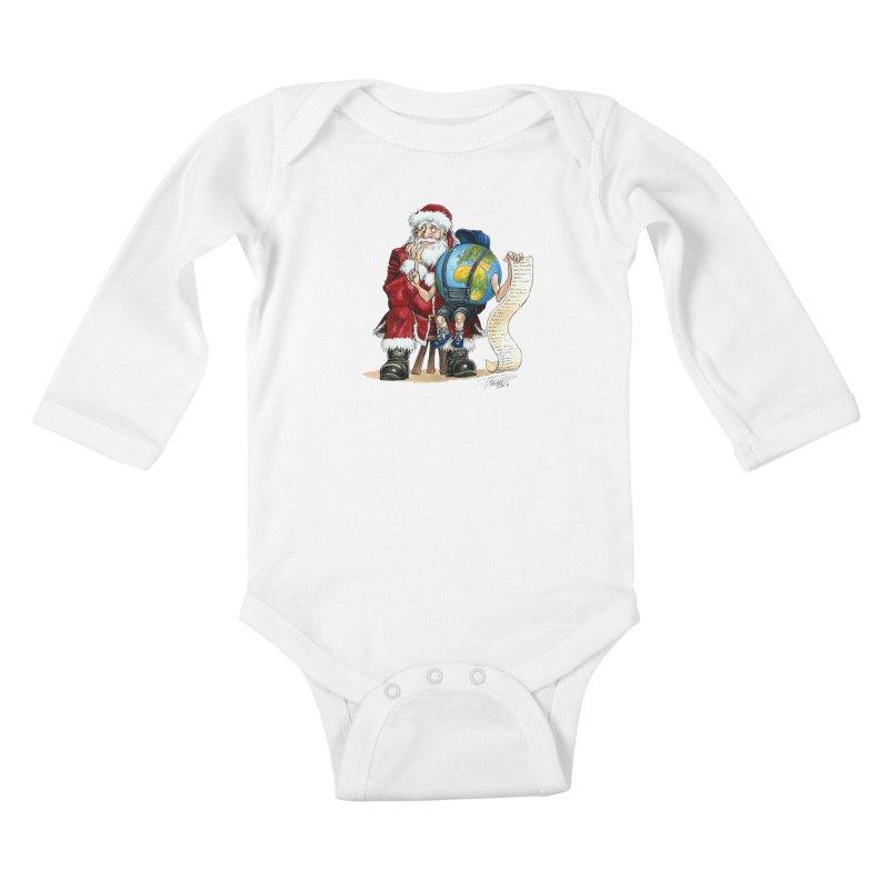 Poor Santa! What a headache! Kids Baby Longsleeve Bodysuit by Ferran Xalabarder's Artist Shop