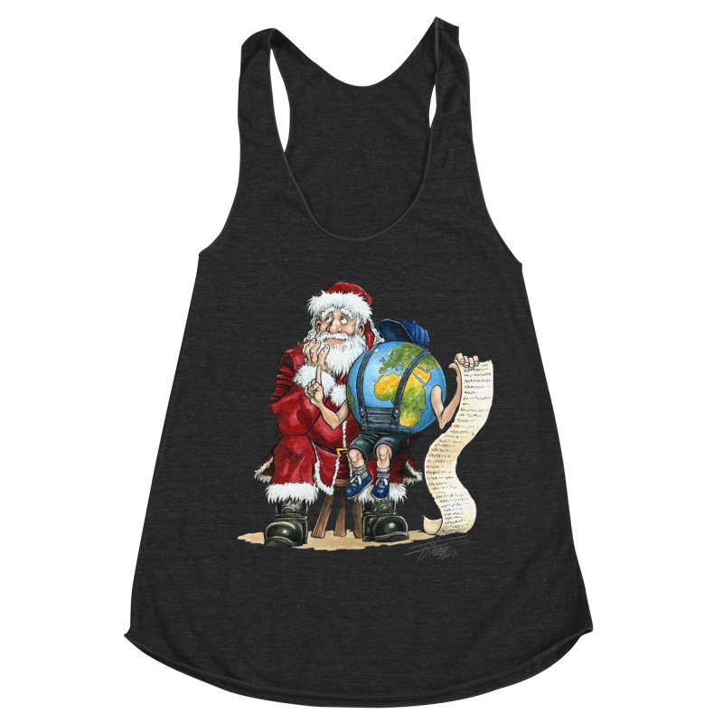 Poor Santa! What a headache! Women's Racerback Triblend Tank by Ferran Xalabarder's Artist Shop