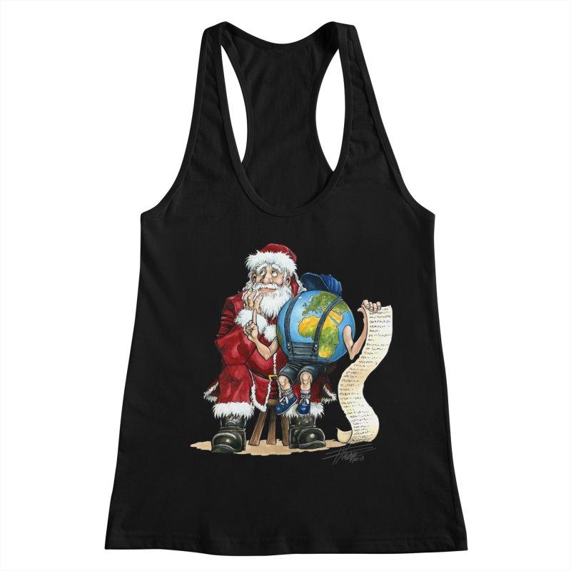Poor Santa! What a headache! Women's Racerback Tank by Ferran Xalabarder's Artist Shop