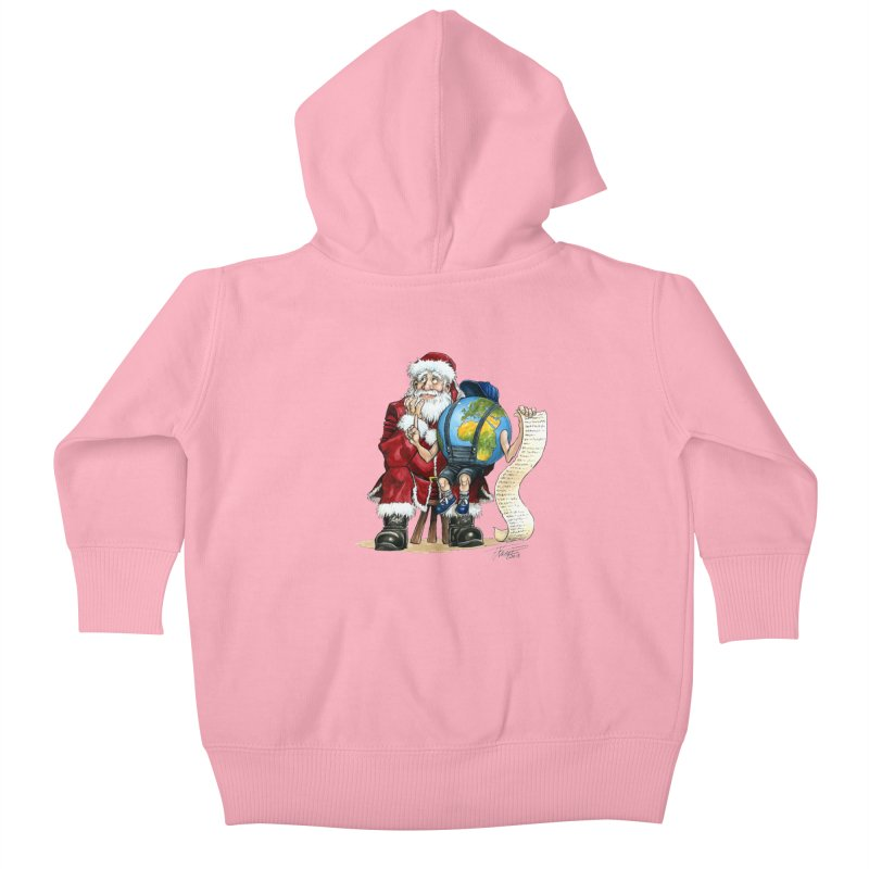 Poor Santa! What a headache! Kids Baby Zip-Up Hoody by Ferran Xalabarder's Artist Shop