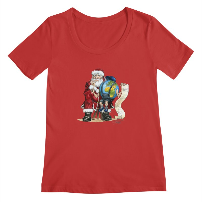 Poor Santa! What a headache! Women's Regular Scoop Neck by Ferran Xalabarder's Artist Shop