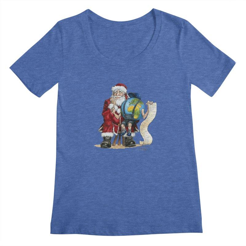 Poor Santa! What a headache! Women's Scoopneck by Ferran Xalabarder's Artist Shop