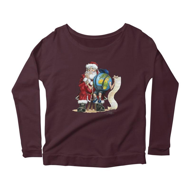 Poor Santa! What a headache! Women's Scoop Neck Longsleeve T-Shirt by Ferran Xalabarder's Artist Shop