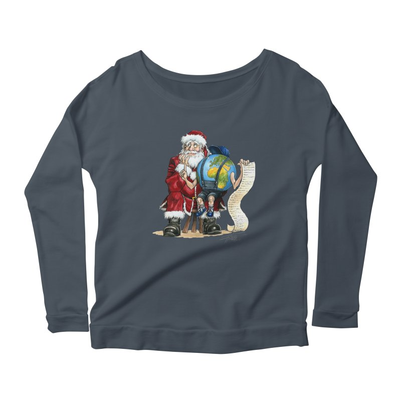 Poor Santa! What a headache! Women's Scoop Neck Longsleeve T-Shirt by Ferran Xalabarder's Artist Shop