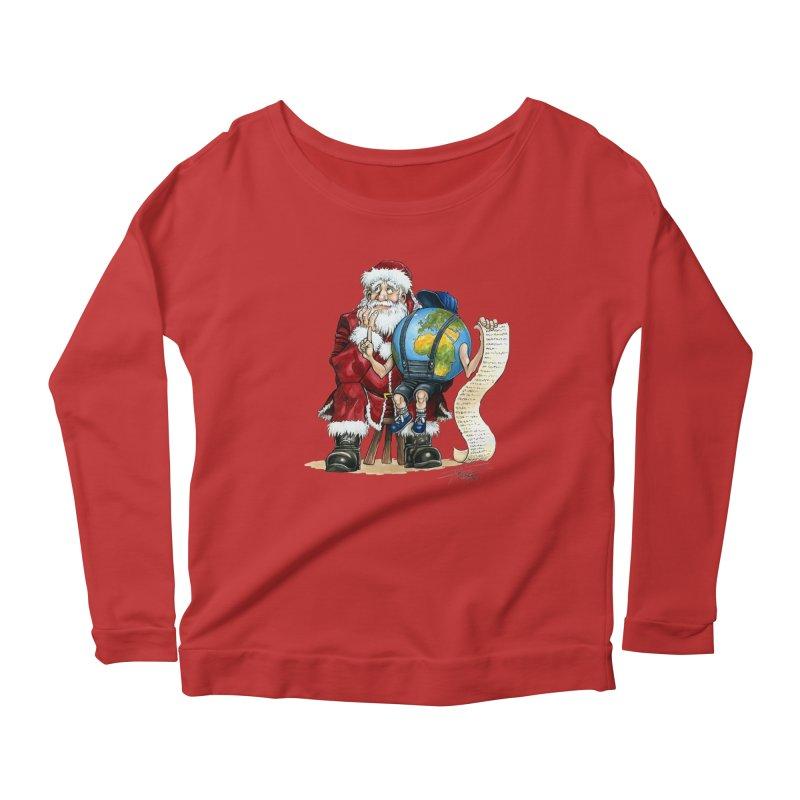 Poor Santa! What a headache! Women's Longsleeve Scoopneck  by Ferran Xalabarder's Artist Shop