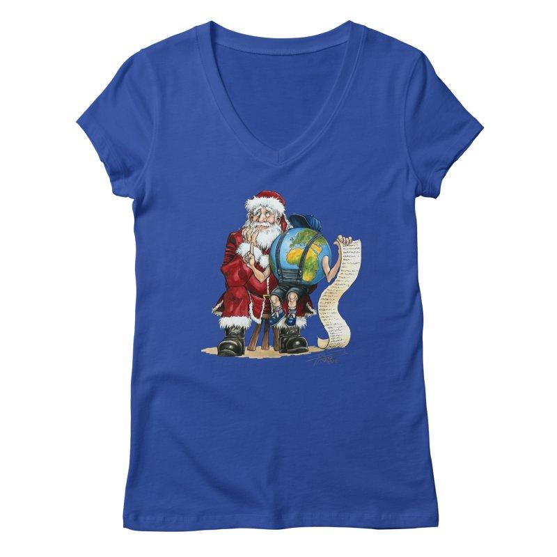 Poor Santa! What a headache! Women's V-Neck by Ferran Xalabarder's Artist Shop
