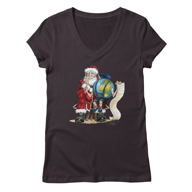 Poor Santa! What a headache! Women's Regular V-Neck by Ferran Xalabarder's Artist Shop
