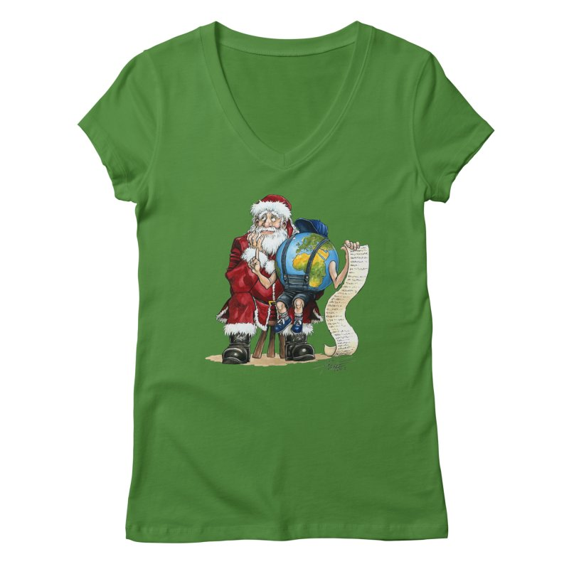 Poor Santa! What a headache! Women's V-Neck by Ferran Xalabarder's Artist Shop