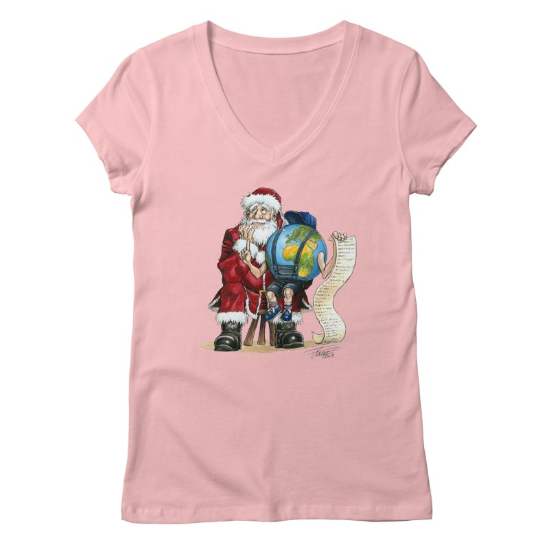 Poor Santa! What a headache! Women's Regular V-Neck by Ferran Xalabarder's Artist Shop