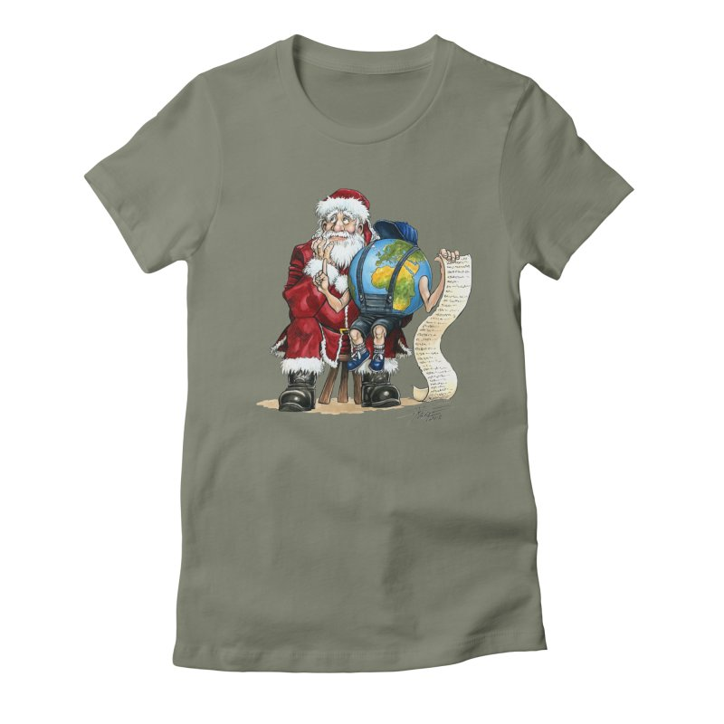 Poor Santa! What a headache! Women's Fitted T-Shirt by Ferran Xalabarder's Artist Shop