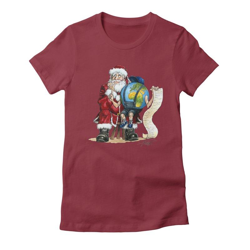 Poor Santa! What a headache! Women's Fitted T-Shirt by Ferran Xalabarder's Artist Shop