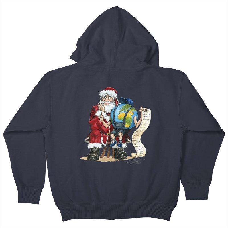 Poor Santa! What a headache! Kids Zip-Up Hoody by Ferran Xalabarder's Artist Shop