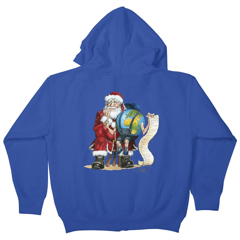Poor Santa! What a headache! Kids Zip-Up Hoody by Ferran Xalabarder's Artist Shop