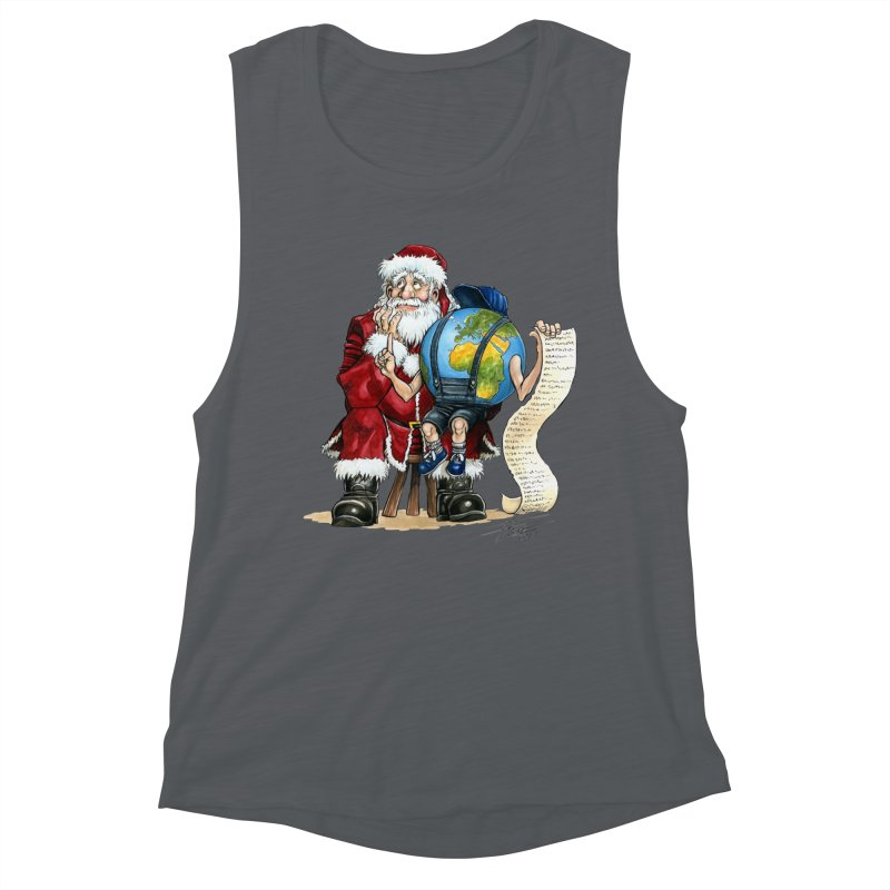 Poor Santa! What a headache! Women's Muscle Tank by Ferran Xalabarder's Artist Shop