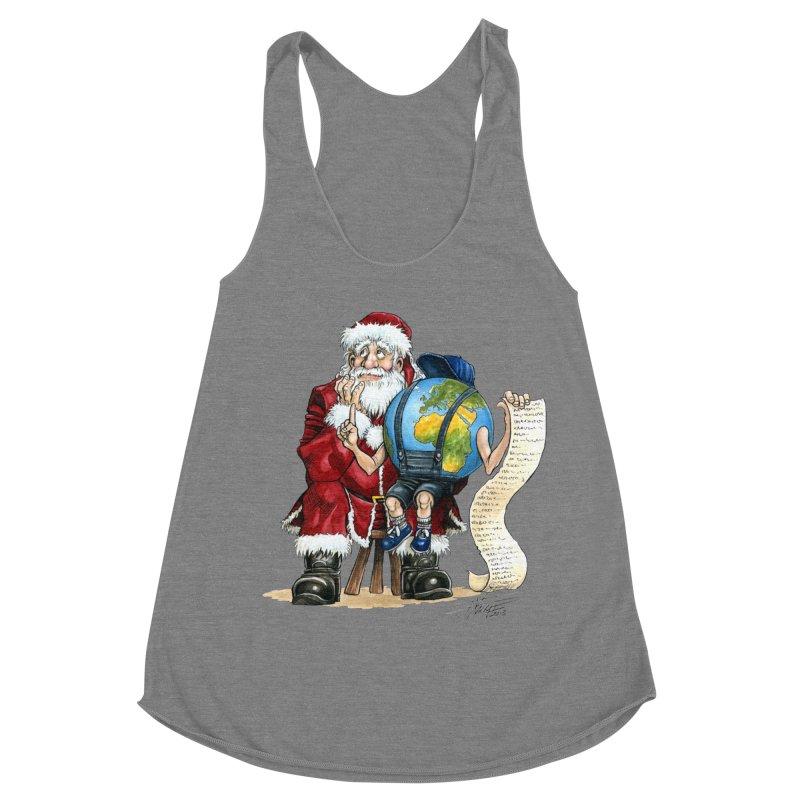 Poor Santa! What a headache! Women's Racerback Triblend Tank by Ferran Xalabarder's Artist Shop