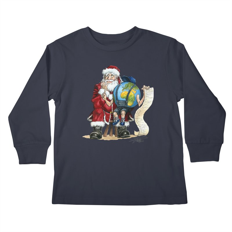 Poor Santa! What a headache! Kids Longsleeve T-Shirt by Ferran Xalabarder's Artist Shop