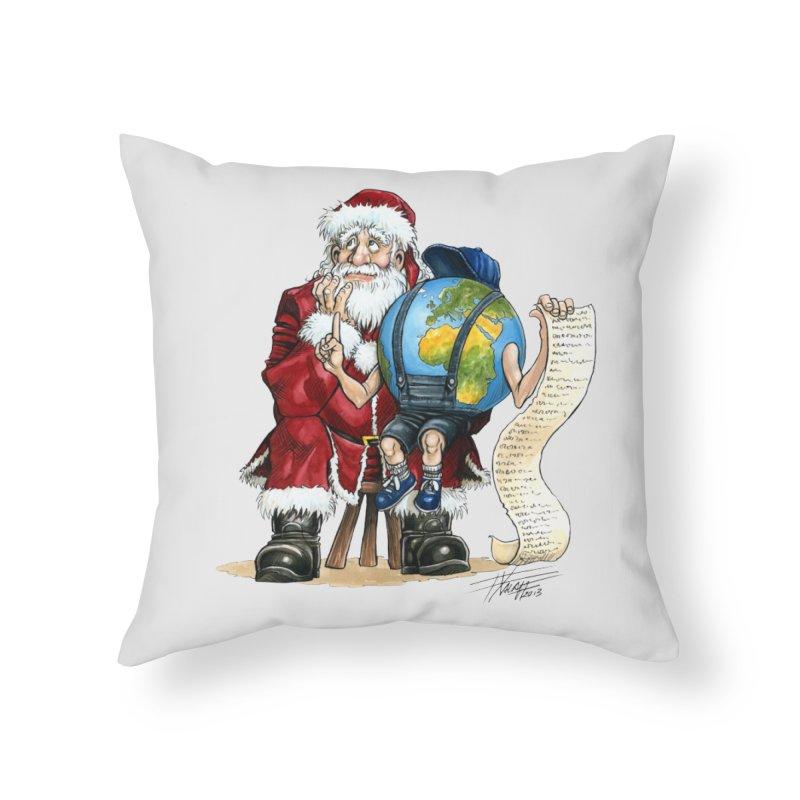 Poor Santa! What a headache! Home Throw Pillow by Ferran Xalabarder's Artist Shop