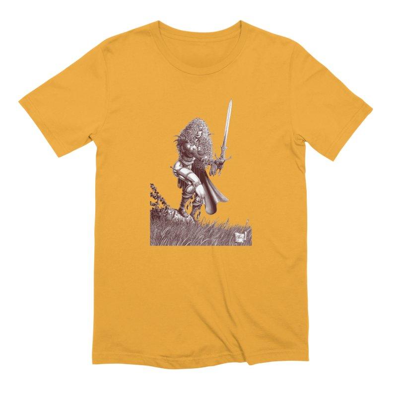 She-Warrior (brown) Men's Extra Soft T-Shirt by Ferran Xalabarder's Artist Shop