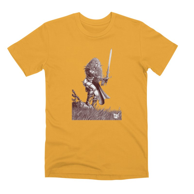She-Warrior (brown) Men's Premium T-Shirt by Ferran Xalabarder's Artist Shop