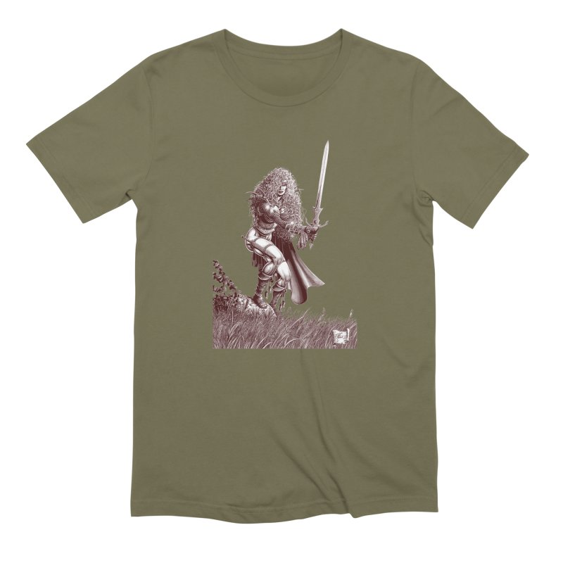 She-Warrior (brown) Men's Extra Soft T-Shirt by Ferran Xalabarder's Artist Shop