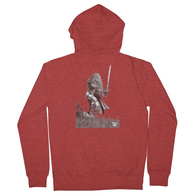 She-Warrior (brown) Women's Zip-Up Hoody by Ferran Xalabarder's Artist Shop