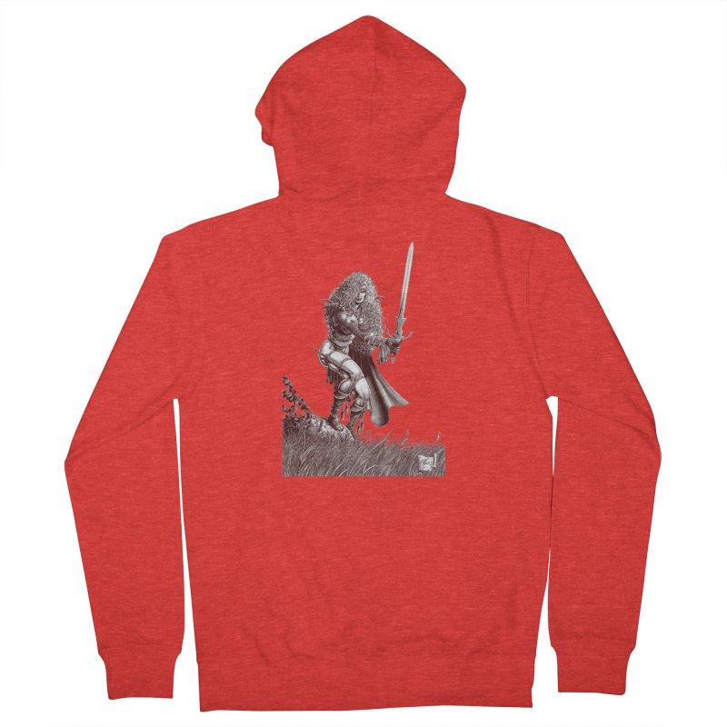 She-Warrior (brown) Men's Zip-Up Hoody by Ferran Xalabarder's Artist Shop