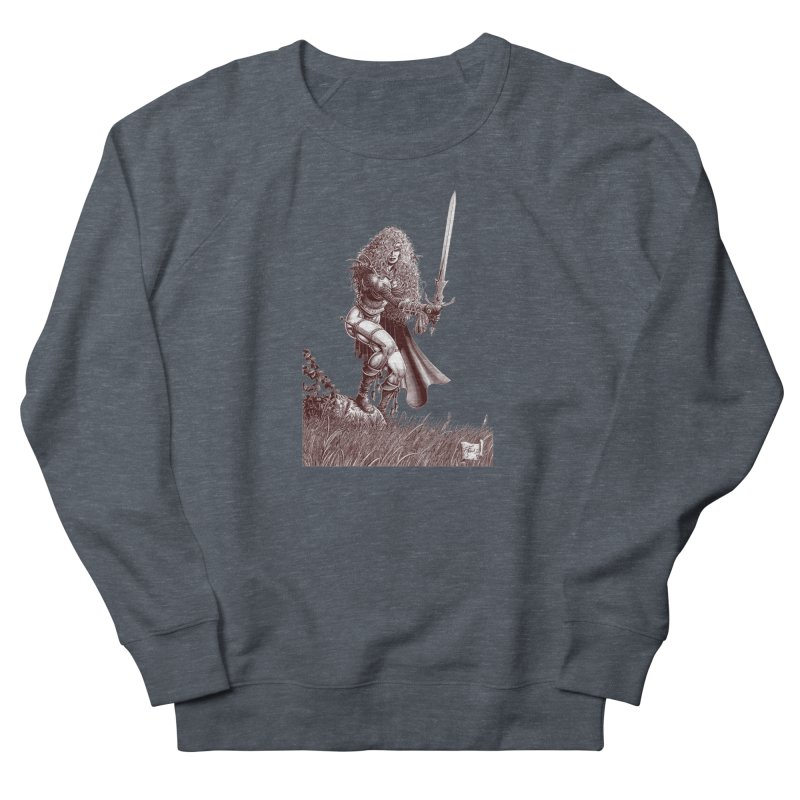 She-Warrior (brown) Men's French Terry Sweatshirt by Ferran Xalabarder's Artist Shop