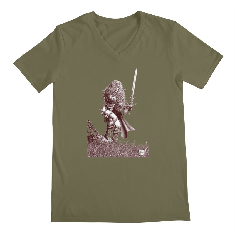 She-Warrior (brown) Men's V-Neck by Ferran Xalabarder's Artist Shop
