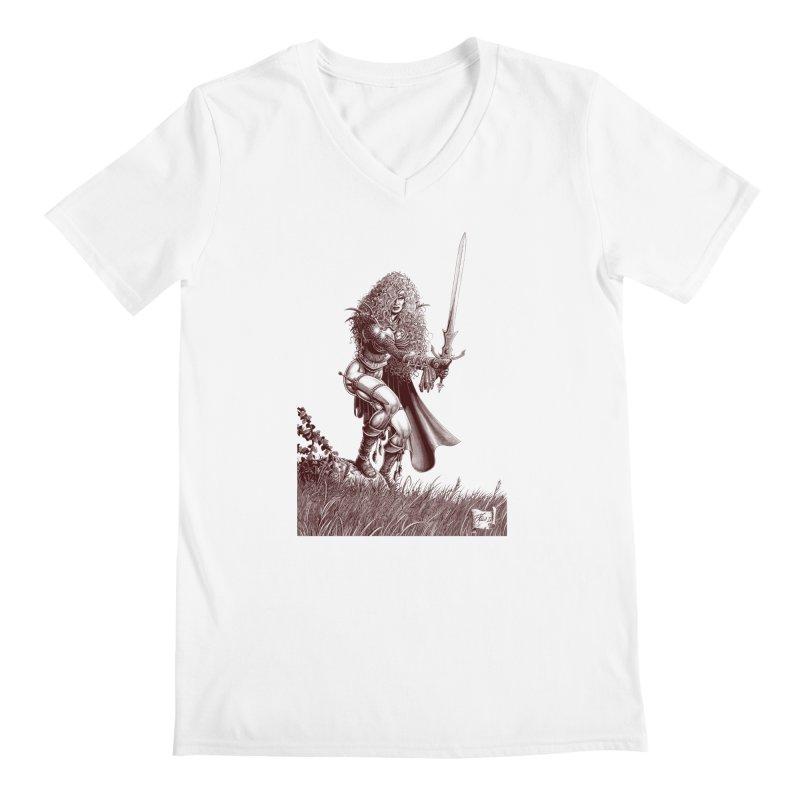 She-Warrior (brown) Men's V-Neck by Ferran Xalabarder's Artist Shop