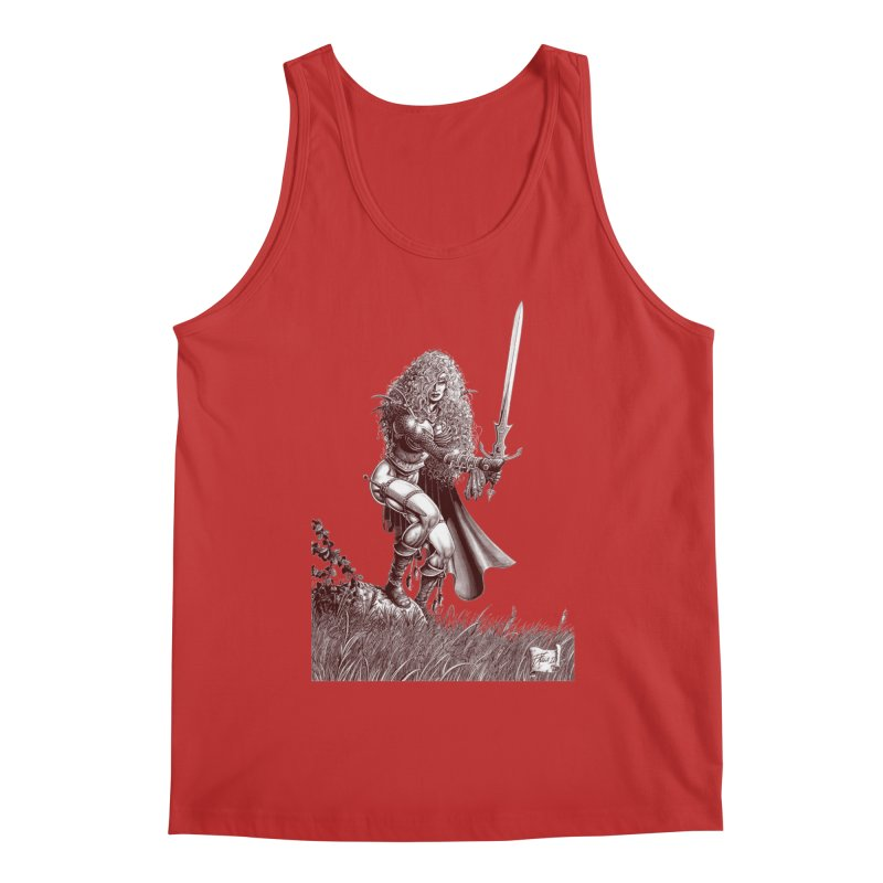 She-Warrior (brown) Men's Tank by Ferran Xalabarder's Artist Shop