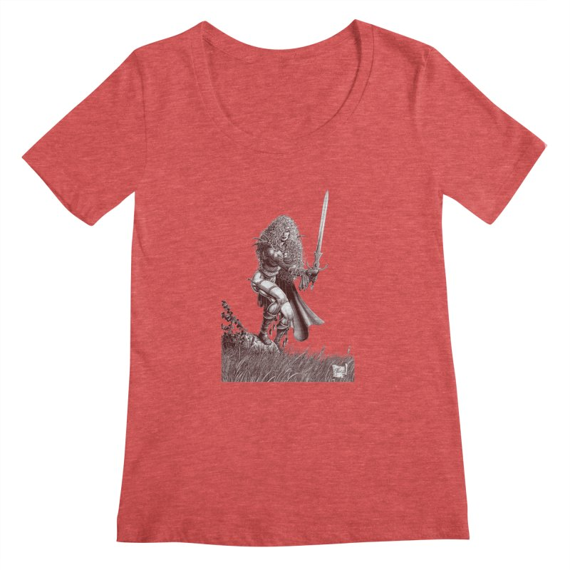 She-Warrior (brown) Women's Scoop Neck by Ferran Xalabarder's Artist Shop