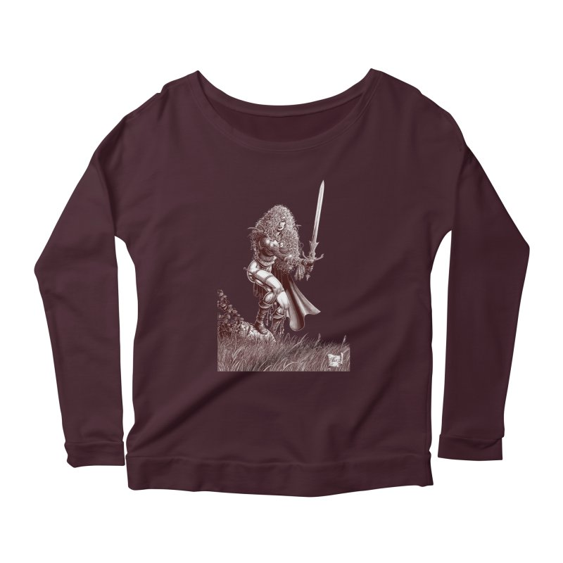 She-Warrior (brown) Women's Longsleeve T-Shirt by Ferran Xalabarder's Artist Shop