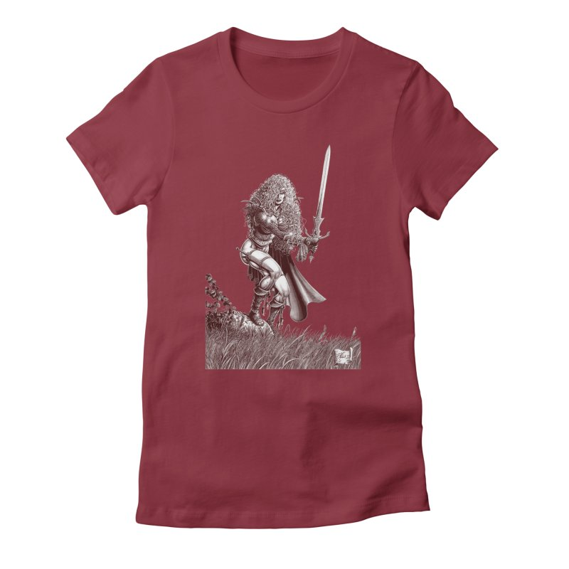 She-Warrior (brown) Women's Fitted T-Shirt by Ferran Xalabarder's Artist Shop