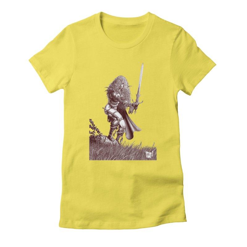 She-Warrior (brown) Women's Fitted T-Shirt by Ferran Xalabarder's Artist Shop
